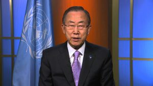 VN-secretaris-generaal Ban-Ki Moon  (Beeld: Youtube)