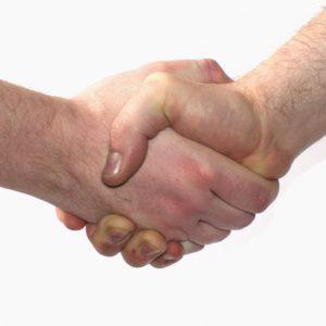 Elkaar de hand schudden, het is slechts een van de handelingen die je binnenkort in de iStore moet kopen alvorens het te doen.