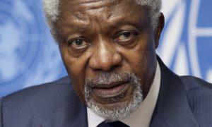Hond Kofi Annan eet bemiddelingsmandaat Syrië op