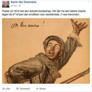 'On les aura', tweette Van Overmeire omineus over de baardapen. (Foto: Facebook, HLN)