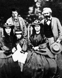 Siegfried Bracke (achteraan links) met gezin op bezoek bij Karl Marx in het voorjaar van 1846