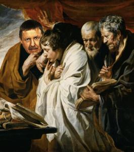 'De vier evangelisten' door Jacob Jordaens, olie op doek, 1620