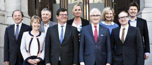 Een kibbelkabinet kun je het niet noemen, volgens minister-president Geert Bourgeois (tweede van links). (Foto: Vlaanderen.be)