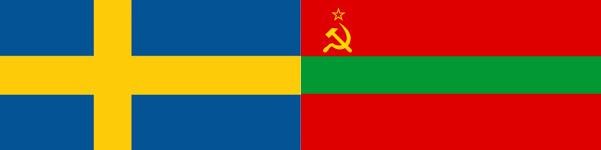 Links: de vlag van de Zweedse coalitie. Rechts: mogelijks de nieuwe vlag van de Transnistrische oppositie?